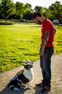 Marius su savo šuniukais